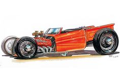 Thom Taylor Hot Rods   Here's a 1970s Ford F-100 concept that Thom Taylor drew up for Rod ...