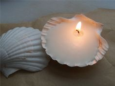 Shell candle favors or decorations