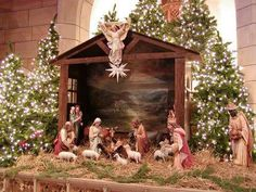 History of the Christmas Creche: the Manger scene, its early origin, how it developed over history, and why we celebrate the Nativity scene as we do. Christmas Manger, Christmas Nativity Scene, Christmas Villages, Christmas Traditions, Christmas Holidays, Merry Christmas, Happy Holidays, Navity Scene, Church Christmas Decorations