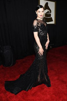 Jessie J Makes a 'Bang' on Grammys 2015 Red Carpet: Photo Jessie J is total glam in her sexy black Ralph and Russo dress at the 2015 Grammy Awards held at the Staples Center on Sunday (February in Los Angeles. Grammy Red Carpet, Red Carpet Ready, Red Carpet Looks, Jessie J, Celebrity Dresses, Celebrity Style, Celebrity Photos, Celebrity News, Madonna