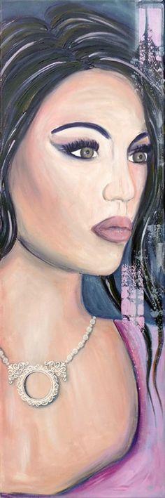 Schilderij Latina Girl. Geschilderd met acrylverf met als basiskleur roze.