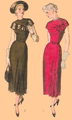 "D40-2924 Ladies' Day or Evening Dress, circa 1949.  Bust size 32"", waist size 26"", hip size 35""."