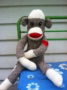 Sock Monkey  handmade vintage plush child tattoo toy by yorkpatty, $28.00 www.yorkpatty.etsy.com