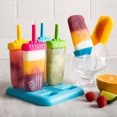 KSP Ice Pop Freezer Oval Popsicle Mold Set - Set of 6 available for sale at the best price at Kitchen Stuff Plus your Ice Cube Trays store. High Sugar, Popsicle Molds, Ice Pops, Fruit Juice, Frozen Treats, Healthy Alternatives, Ice Cube Trays, Popsicles, Kitchen Gadgets