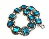 Vintage Art Deco Sterling Silver Bracelet, Blue, Aqua or Teal Stones, Open Back, Bezel Set, Link, Hallmarked, 1930s