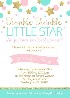 Printable twinkle twinkle little star baby shower invitation twinkle twinkle little star baby shower 5x7 invitation custom digital file pink and glittery filmwisefo