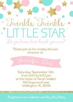 Twinkle Twinkle Little Star Baby Shower 5x7 Invitation - Custom Digital File - Pink and Glittery Gold by CamaleeKateStudio on Etsy