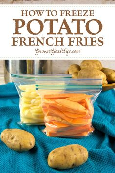 Whether you grow and store your own potatoes, purchase in bulk from the farmer' market, or snag a great deal at the supermarket, a day of prep can fill your freezer full of potato French fries ready to bake or air fry quickly for meals. Freezer Potatoes, Freeze Sweet Potatoes, Canning Potatoes, Cheesy Potatoes, Baked Potatoes, Freezing Vegetables, Frozen Vegetables, Freezer Friendly Meals, Homemade French Fries