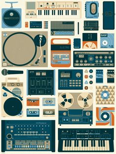 Tools of the Trade Retro Analog Print by BRLSQ on Scoutmob Shoppe Poster Love, Poster Shop, Poster Prints, Art Prints, Studio Musica, Musik Illustration, To Do App, Omg Posters, New Retro Wave