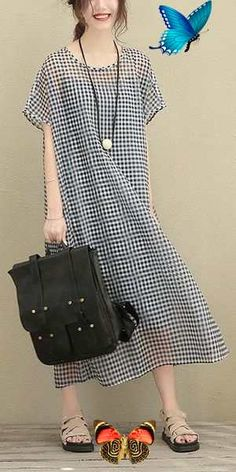 BIG SIZE PLAID LONG LOOSE POLYESTER TWO PIECE DRESS WOMEN CLOTHES<br> Plus Size Formal Dresses, Plus Size Cocktail Dresses, Plus Size Outfits, Big Size Fashion, Stylish Outfits, Fashion Outfits, Womens Fashion, Latest Fashion, Fashion Trends