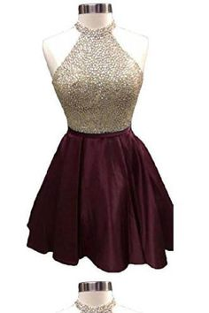 A Line Halter Beading Bodice Satin Homecoming Dresses with Open Back Homecoming Dress, Open Back Homecoming Dresses, A-Line Homecoming Dresses Homecoming Dresses 2019 Burgundy Homecoming Dresses, Cheap Homecoming Dresses, Cute Prom Dresses, Dresses For Teens, Pretty Dresses, Beautiful Dresses, Graduation Dresses, Semi Dresses, Graduation Ideas