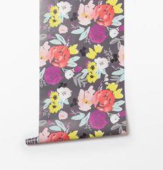 Blooms Grande in Grey Wallpaper | Caitlin Wilson Textiles