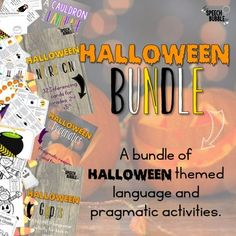 All your Halloween language needs in one bundle! This bundle contains Halloween themed activities for language, listening comprehension, and pragmatics. This bundle contains the following activities: Halloween Inferencing  Halloween Pragmatics  Halloween Glyphs  A Cauldron Full of Language...