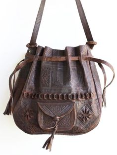 Dilly Leather Bag Large from Morocco Fringe Handbags, Tote Handbags, Purses And Handbags, Leather Tooling, Leather Purses, Leather Handbags, Tooled Leather, Distressed Leather, Leather Bags