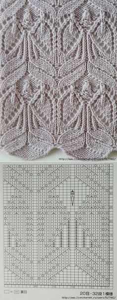 "Много ажурных узоров спицами ""leaf lace and cables --- these look a little like angels to me -- knit pattern chart"", ""Use the chart? Wish the Pattern wa Lace Knitting Stitches, Lace Knitting Patterns, Knitting Charts, Knitting Designs, Knitting Projects, Stitch Patterns, Knitting Machine, Knitting Needles, Knitting Tutorials"