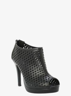 All we have to say is this is one bad bootie. Allover cutout detail with a peep toe make this heel totally sexy. Zip up and go in confidence.<ul><li> 4 heel with platform</li><li>Man-made materials</li><li>Imported</li></ul> Trendy Plus Size Clothing, Plus Size Outfits, Plus Size Fashion, Lace Up Wedge Boots, Lace Up Wedges, Wide Shoes, Girl With Curves, Diva Fashion, Fashion Ideas