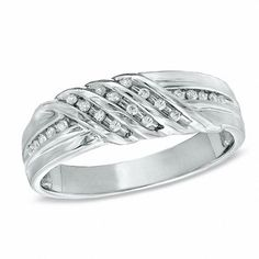 Shop for Men's Diamond Accent Triple Row Slant Band in Sterling Silver at Zales - Men's Diamond Accent Triple Row Slant Band in Sterling Silver Diamond Wedding Rings, Diamond Bands, Wedding Bands, Diamond Stud, Peoples Jewellers, Black Hills Gold Jewelry, Size 10 Rings, Fashion Rings, Rings For Men
