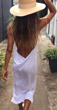 #summer #outfits / white open back dress