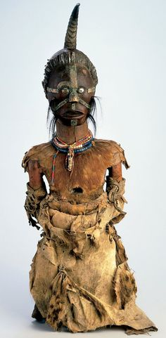 Africa | Power figure (nkishi) from the Songye people of DR Congo | Wood, animal skin, antelope horn, fur, beads, metal, fetish materials | Early 20th century
