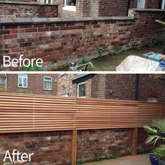 Half-height slatted screen fence built on brick wall. By Monaghan Building & Landscaping LTD. @Monaghandesign