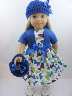 Royal Blue Butterfly Doll Dress, Sash, Shrug, Hat, and Handbag for the American Girl Doll