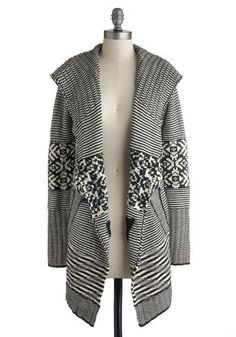 Cozy Classwork Cardigan - Long, Knit, Multi, Black, White, Stripes, Casual, Long Sleeve, International Designer, Print, Pockets, Fall