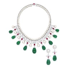 Fluted Emerald, Cultured Pearl, Ruby, Diamond and White Gold Demi-Parure Emerald Jewelry, High Jewelry, Jewelry Sets, Jewellery, Diamond Jewelry, Diamond Necklace Set, Sapphire Diamond, Pearl Diamond, Royal Jewels