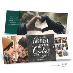 The vintage font, weathered wood background is a classic design for a Christmas card. This card shows off photos in an extra special way! A little thumb tab on the right side pulls out to reveal a whole new card inside that holds 17 more photos—Super Fancy! #holidayCards #ChristmasCards #PremiumCards