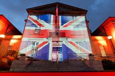 British Embassy building in Japan is lit up with the Union flag Union Flags, Hm The Queen, Light Up, Britain, Fair Grounds, England, Sky, Japan, Explore