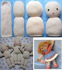 Baby Knitting Patterns Toys I know its not crochet but now i know how to make these hospital teddies. Knitted Doll Patterns, Knitted Dolls, Crochet Dolls, Animal Knitting Patterns, Loom Knitting, Baby Knitting, Knitted Baby, Knitting Toys, Start Knitting