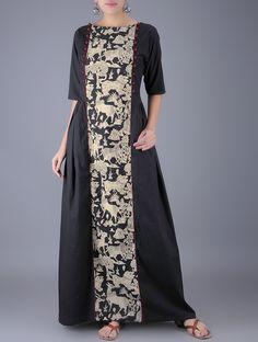 Buy Black Ivory Natural Dyed Kalamkari Cotton Maxi Dress Women Dresses Online at Jaypore.com