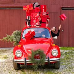 holiday red-vw-bug-presents-gifts-Christmas-tree-greenery M