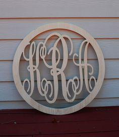 24 Vine Script Three Letter Monogram With Border Wood Letter Monogram Home Decor