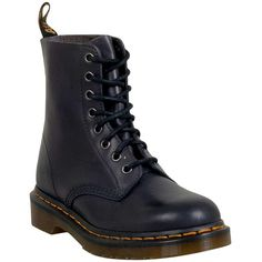 Dr. Martens Women's Pascal Antiqued Temperley Combat Boot ($135) ❤ liked on Polyvore featuring shoes, boots, ankle booties, charcoal, laced booties, lace up boots, rubber sole boots, laced up combat boots and lacing boots