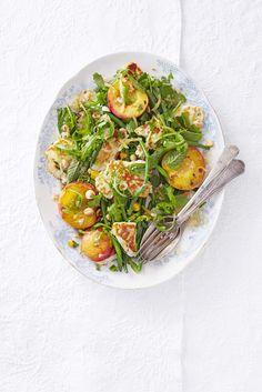 Peach, halloumi and green bean salad: Peaches and halloumi are grilled then tossed with salad, nuts and green beans to make a fast, easy first course.