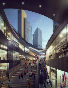 SAN Commercial Complex, Commercial Street, Centre Commercial, Arch Architecture, Architecture Visualization, Futuristic Architecture, Architecture Models, Mix Use Building, High Rise Building