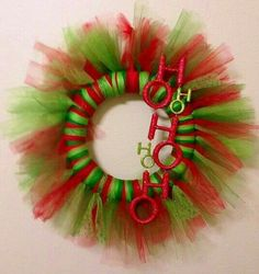 "Holiday Red and Green Tulle Christmas Wreath ""Ho Ho Ho"" easy! Tulle Projects, Tulle Crafts, Wreath Crafts, Diy Wreath, Christmas Projects, Holiday Crafts, Christmas Holidays, Wreath Ideas, Happy Holidays"