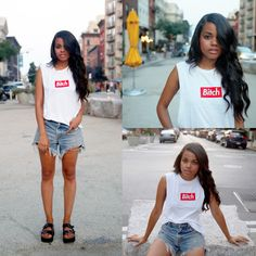 Married To The Mob Muscle Tank, Levi's® Denim Cutoffs, Sixty Seven Shoes Black Flatform Slides