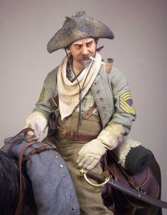 Sergeant Major, Cavalry Corps (Wheeler's), Army of Tennessee; Atlanta Campaign, ca. Scratch built scale figure by Vettius War Dioramas. Military Figures, Military Diorama, Military Art, Military History, Civil War Art, Southern Heritage, Military Modelling, American Civil War, American History