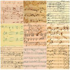 Manuscripts by (clockwise, from top left): J. S. Bach, Josquin Desprez, Johannes Brahms, W. A. Mozart, Arnold Schoenberg, Maurice Ravel, Gustav Mahler, Luciano Berio, and Felix Mendelssohn at center