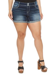 Plus Size Almost Famous Ripped Jean Shorts with Frayed Cuffs | Whether you're hitting the open road or the high seas this season, you'll need this pair of no-fail denim shorts by Almost Famous.  Featuring frayed rolled cuffs, rips and a two-button closure, these shorts will have you ready for all the adventure that awaits you!  Additional features include belt loops, five pockets and a zip fly.  Style these plus size Almost Famous ripped shorts with a halter swing top and a rose gold watch.