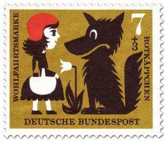 Briefmarke: Rotkäppchen mit dem Wolf (und Blume)