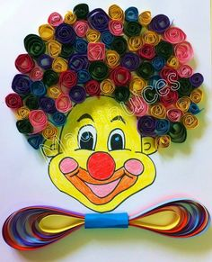 Quilling clown craft - Diy And Home Kids Crafts, Clown Crafts, Circus Crafts, Preschool Crafts, Projects For Kids, Diy For Kids, Diy And Crafts, Arts And Crafts, Arte Quilling