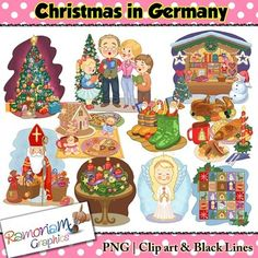 Christmas in Germany Clip art - a total of 30 images in color, black outline and black and white. Each image is PNG and 300dp Commercial use ok.