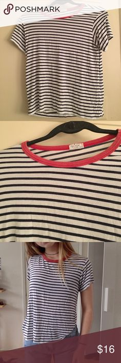 Brandy Melville Nadine Top Striped shirt with a red collar. Super soft and cute. Perfect condition,never worn.  One Size. Firm price. Brandy Melville Tops