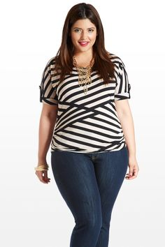 #fashiontofigure #plussizefashion Time Striped Top