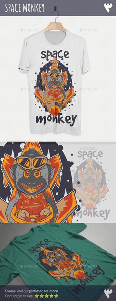 Space Monkey TShirt Design — Vector EPS #animal #space • Available here → https://graphicriver.net/item/space-monkey-tshirt-design/17417285?ref=pxcr