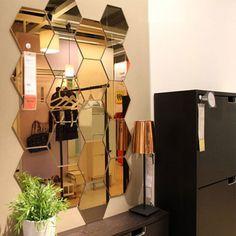 Mirrored Hexagonal Wall Decoration (7 Pc) - Silver #NA