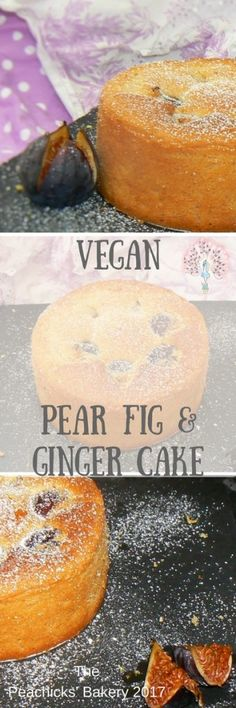 Vegan Pear Fig & GInger Cake (Dairyfree, Eggfree, Soyfree) A light & Fluffy sponge flavoured with Pear & Ginger and with fresh figs sunk into the top! The Peachicks' Bakery 2017