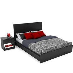 Sonax Z 105 Lpb Plateau Platform Bed And Nightstand Set Queen Ravenwood Black Furnitureikea